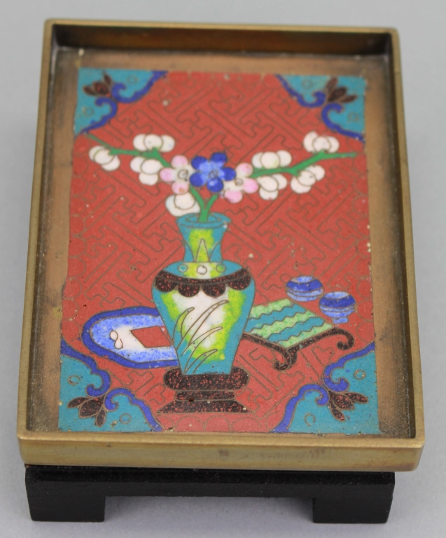 Antique Chinese Cloisonne Plaque on Stand