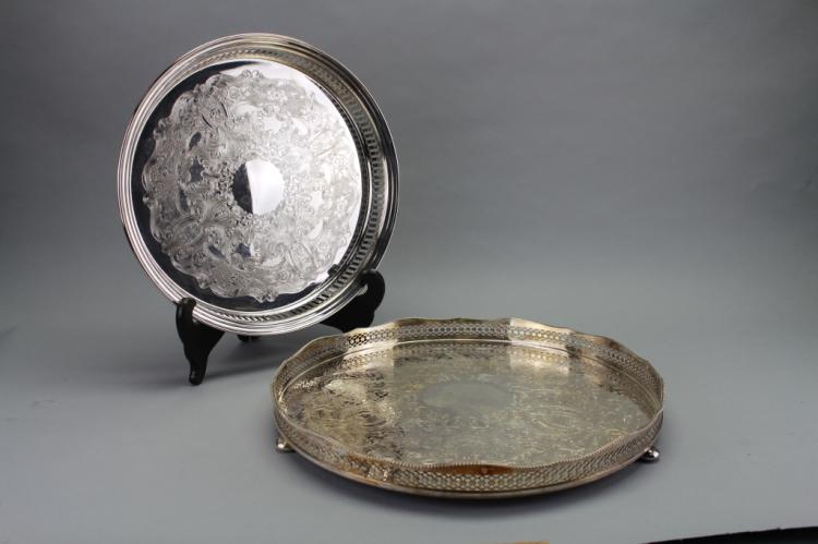 (2) Galleried Silver Plate Serving Trays