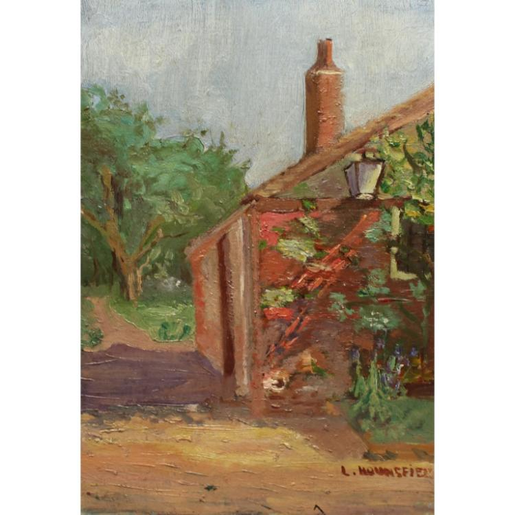 Signed 20th C. O/B Impressionist Cottage Scene