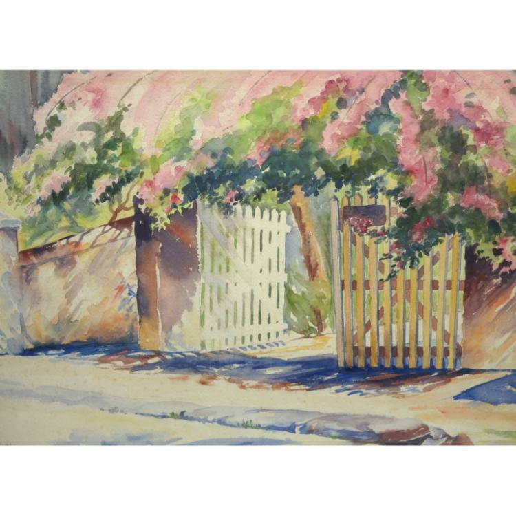 20th C. Watercolor of Gate Fla signed Ruhl