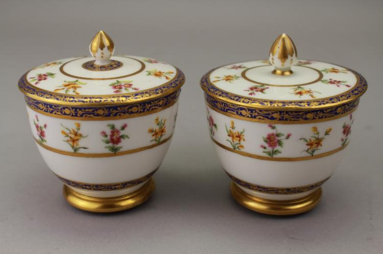 (2) Antique French Gilt Porcelain Covered Cups