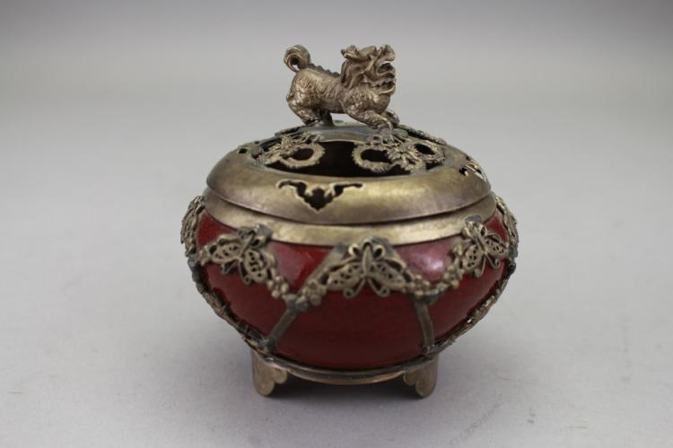 Signed 20th C. Chinese Covered Censer