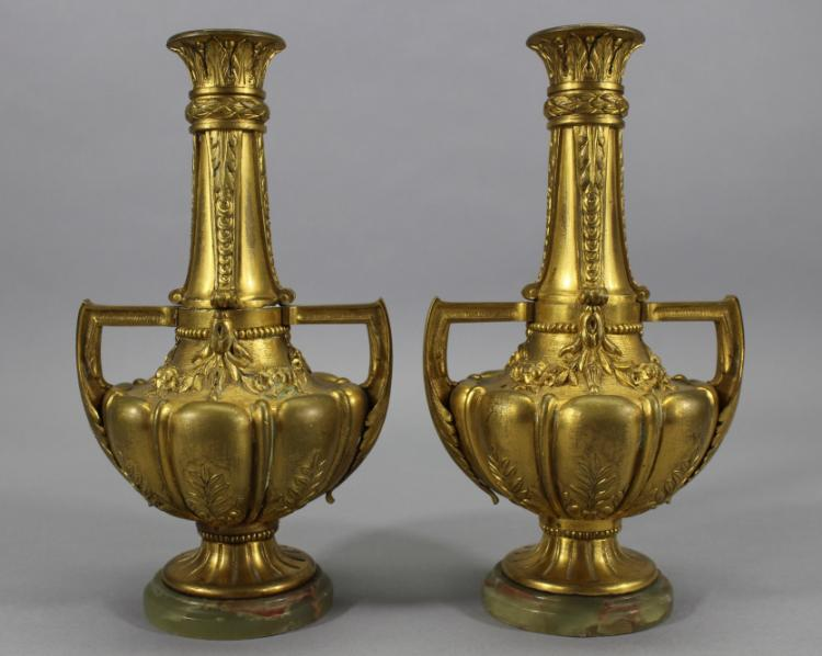 Antique French Gilt Bronze Vases Mounted on Onyx