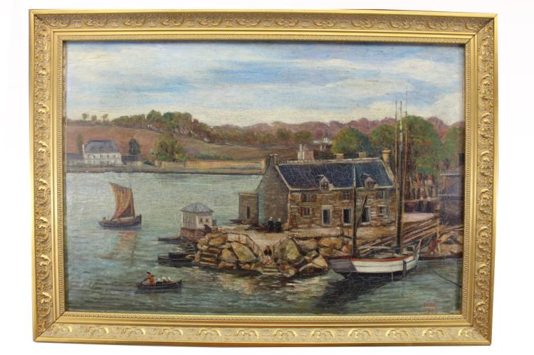 Signed French Brittany Harbor Scene Oil/Canvas