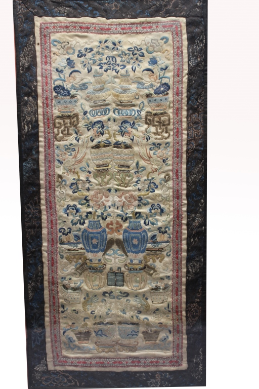 Antique Framed Chinese Forbidden Stitchery Sleeve