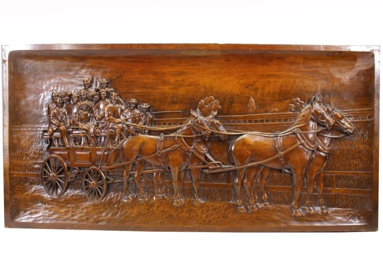 Large Carved Wood Plaque-Horse Drawn Carriage