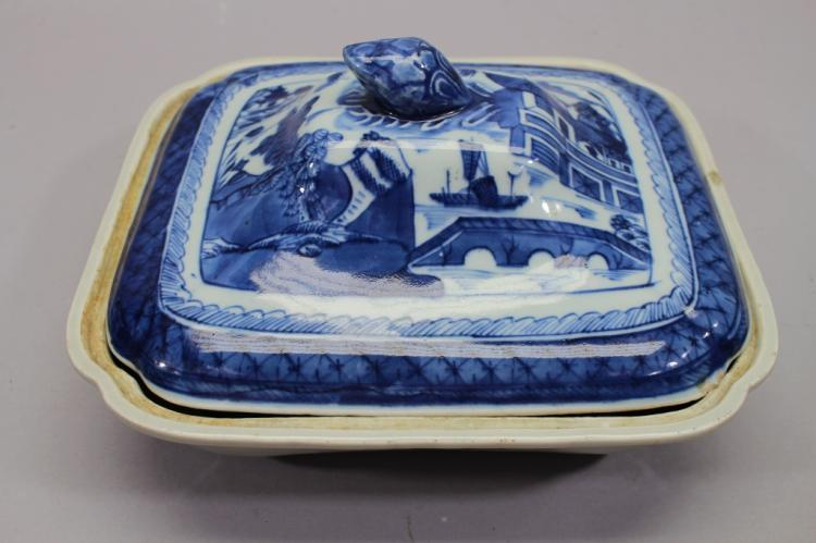Chinese Export Blue/White Covered Dish
