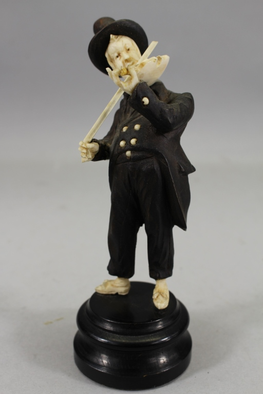 Carved Wood/Bone Violinist Figure on Stand