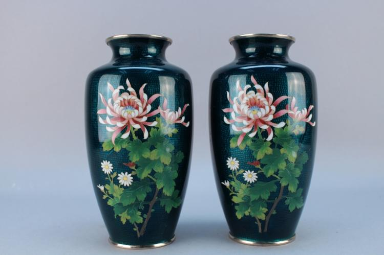 Pair, Green Ground Japanese Cloisonne Vases