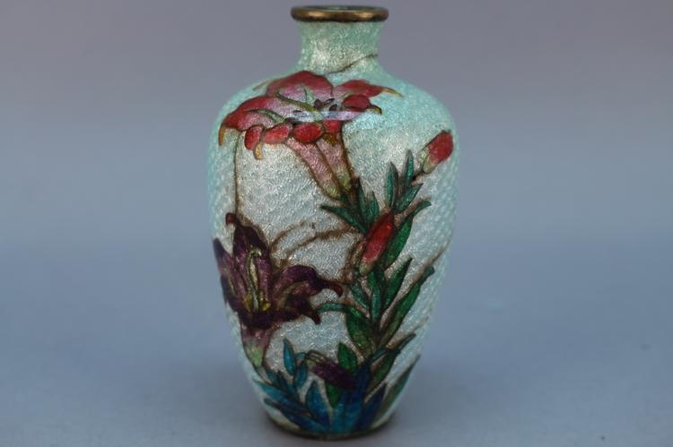 Fine Japanese Silver Foil Cloisonne Vase