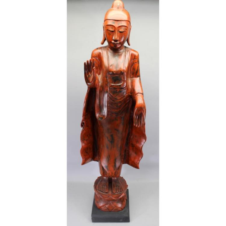 Large 20th C. Red Lacquer Chinese Guanyin