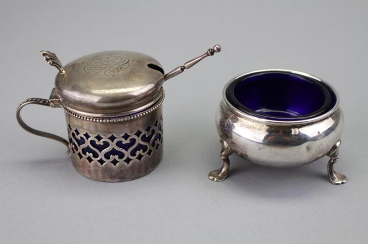 Sterling & Cobalt Open Salt & Covered Sugar