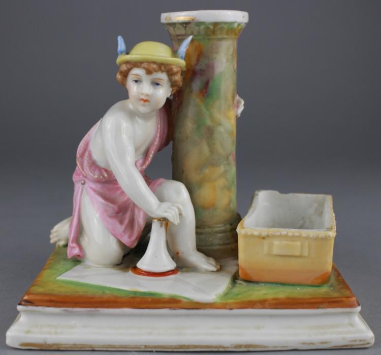 Antique Porcelain Figure w/column