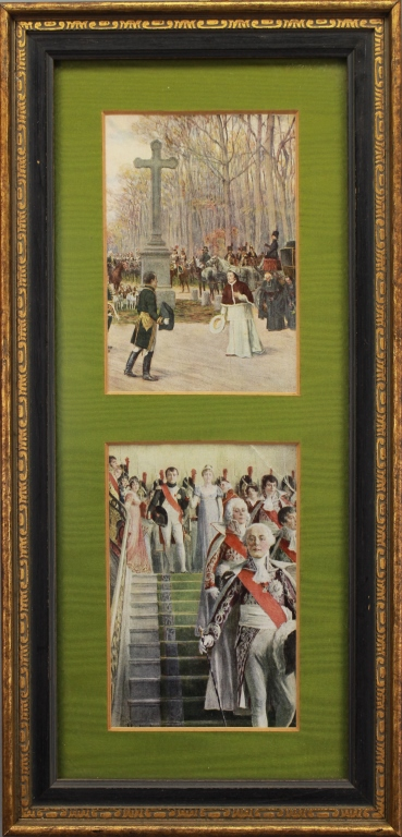 Antique Napoleonic 2-part framed prints