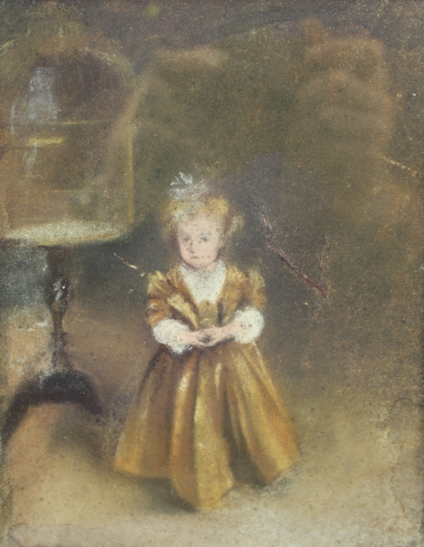 19th C. Mixed Media of Young Girl