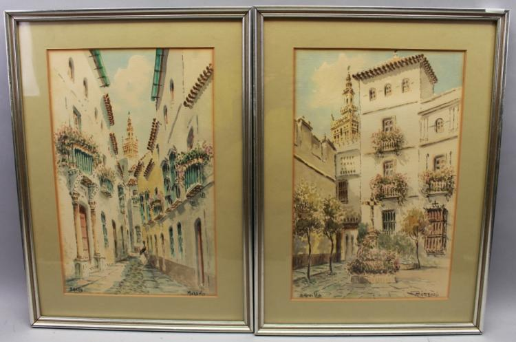 (2) Signed Moreno Seville Watercolors