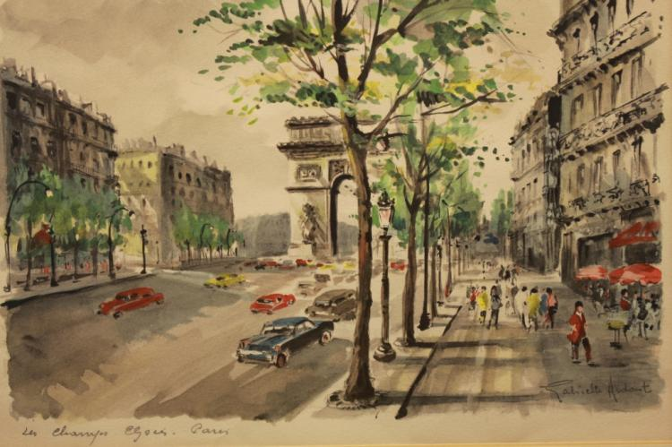Signed 20th C. Paris Street Scene W/c