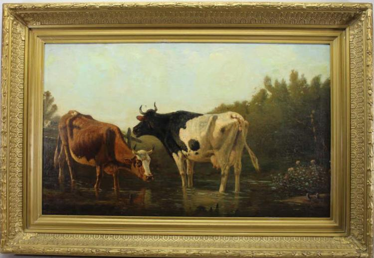 Large Finely Painted 1882 Ptg of Cows Near River