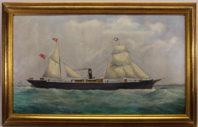 19th C. British School Portrait of a Steamship