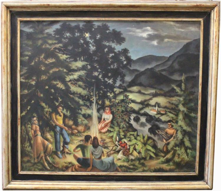 """""""Evening-Woodstock NY"""" Exhibited Carnegie Institute, 1941. """"Directions in American Painting"""". Philipp Ross Yost (b.1914)"""