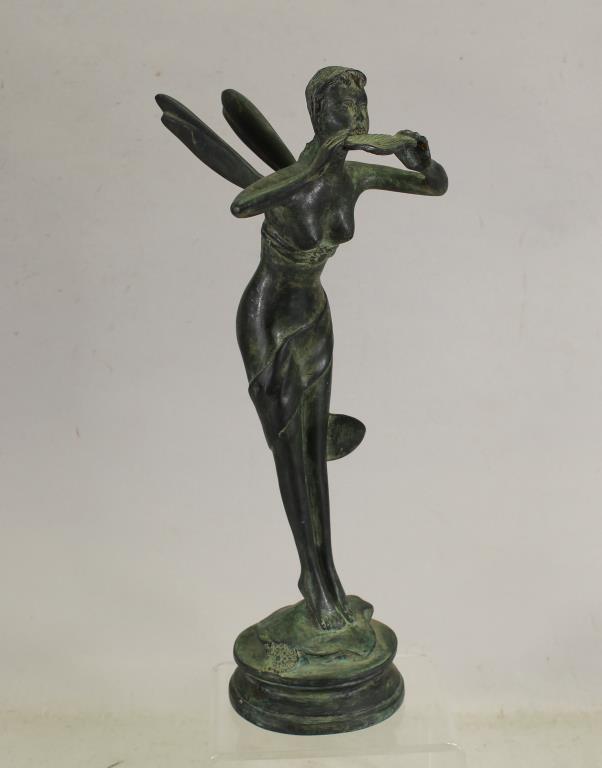 Bronze Fairy Figure Holding Leaf