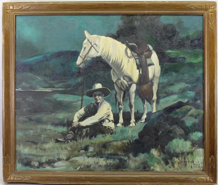 Rare Western American Illustration, Signed