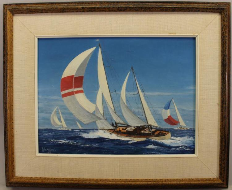 Robert Lewis, '73 Painting of a Yacht Racing Scene