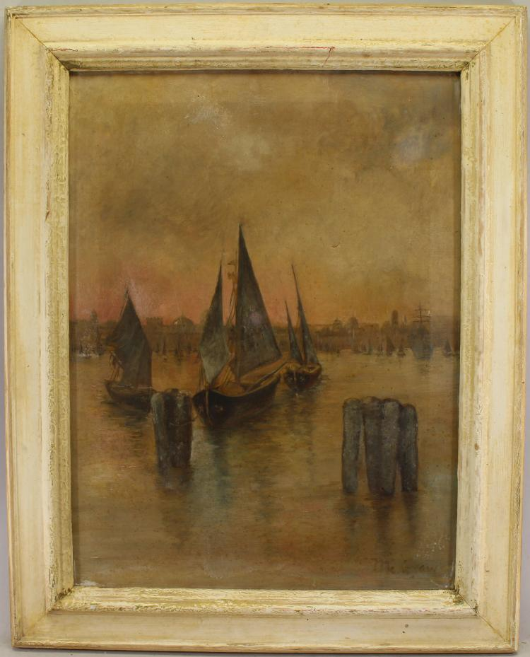 Signed 19th C. Painting of Venetian Harbor View