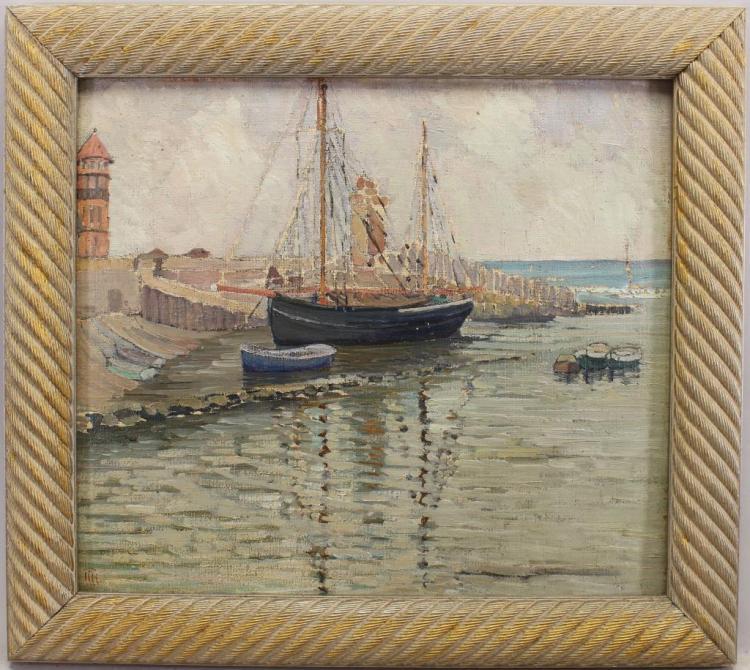 New England Impressionist Harbor Scene, Signed