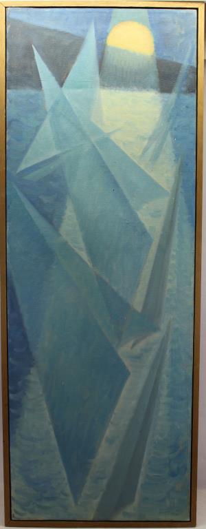 Wallace, Vintage Abstract Painting of Sailboats
