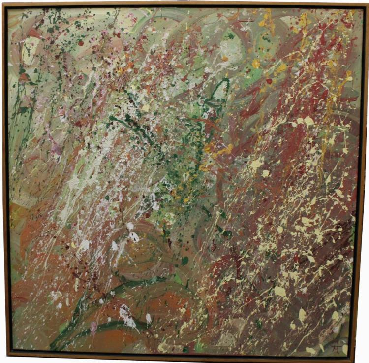 Large Abstract Monogrammed Oil Painting