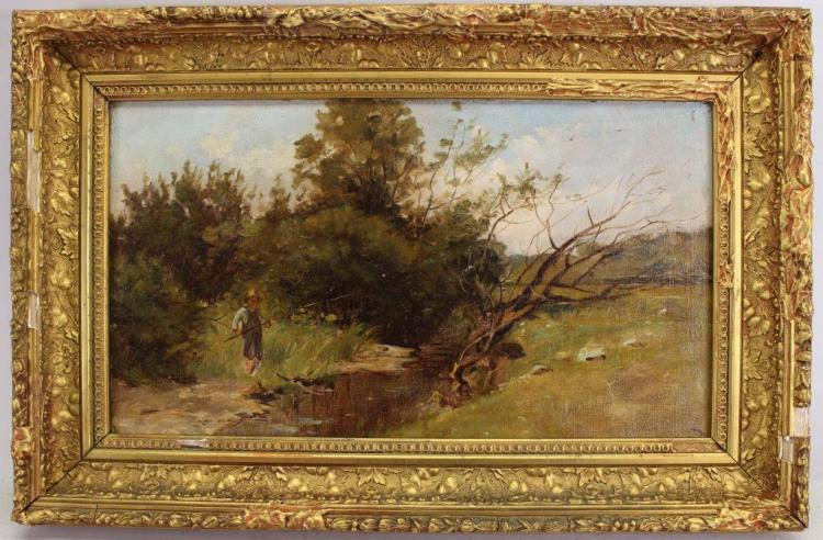 Signed 19th C. Painting of Boy Fishing in a River