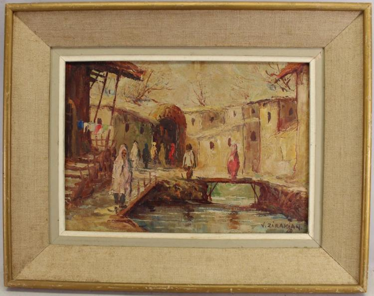 Signed, Impressionist Ptg of Figures Near Canal
