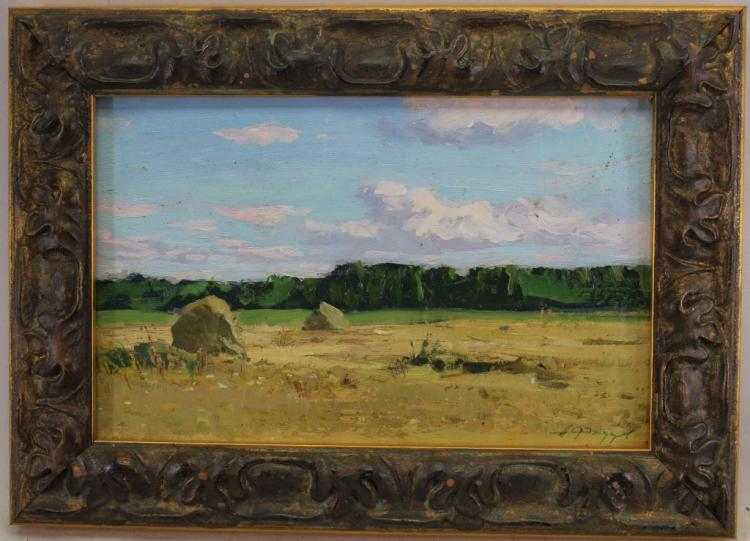 Russian School 19th C. Hay Harvest Painting, Signd