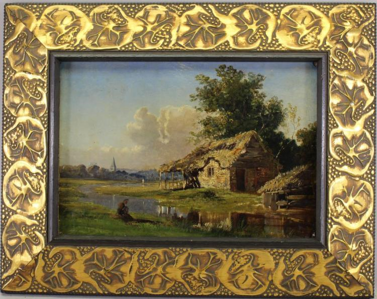 19th C. European School, Cottage Near River