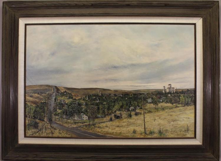 John Bergers (Kansas, Nebraska, 1931 - 2011) Painting of a Rural Highway