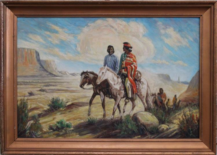 Large Western American Oil Painting of Indians
