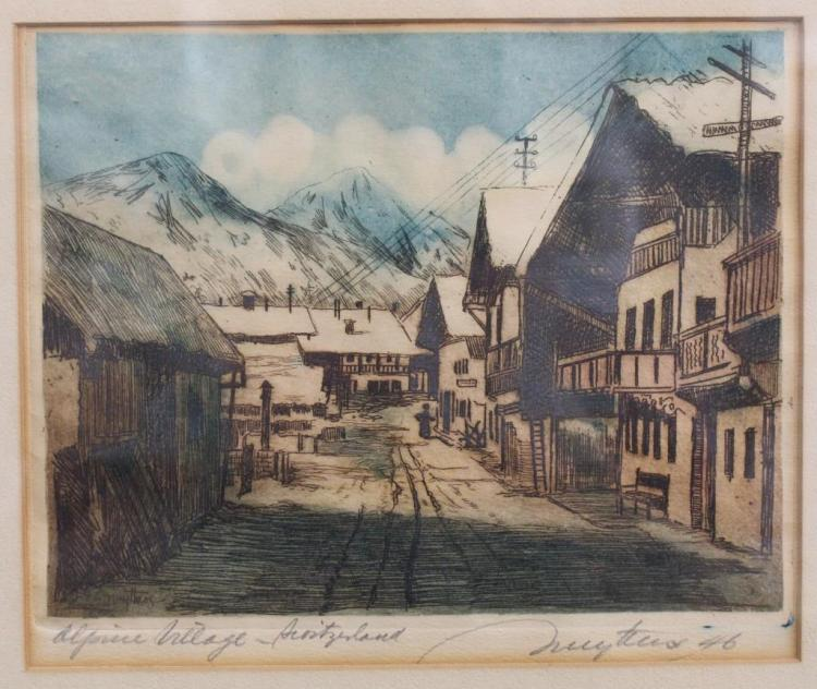 Josef Nuyttens (1885 - 1960) Colored Engraving