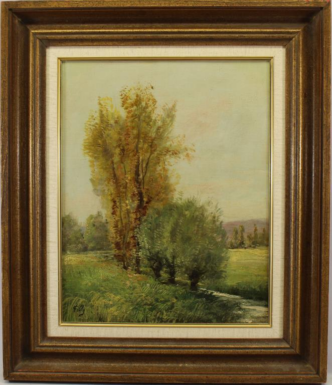 Filly, Signed Antique Spring Landscape Painting
