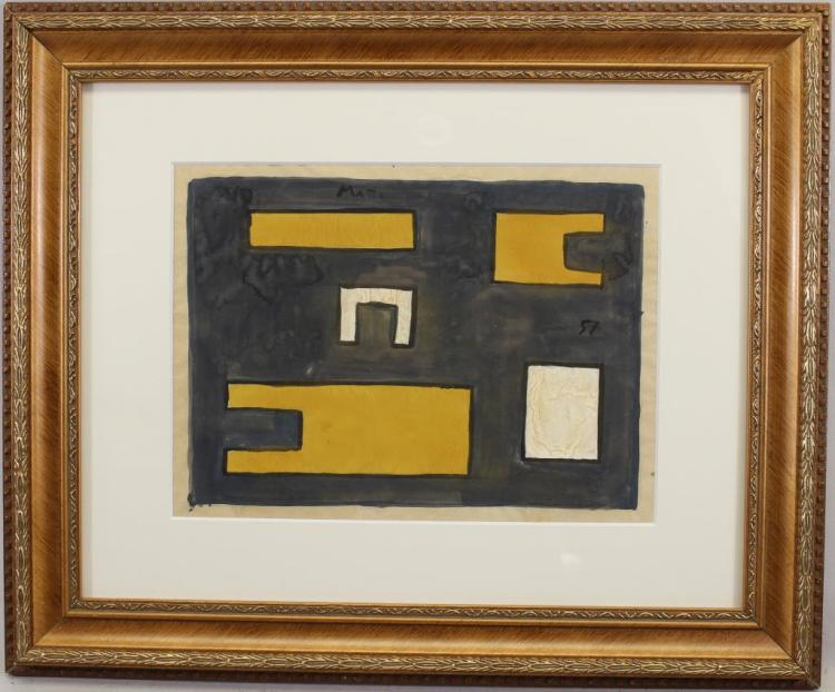 Signed, Modernist Abstract Mixed Media