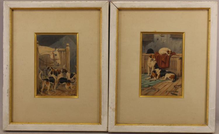 (2) George Wright (1860 - 1942) Hound Paintings
