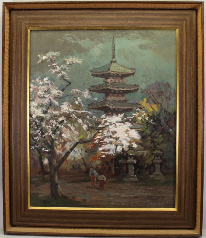 K Suzuki, 20th C. Japanese Springtime Pagoda