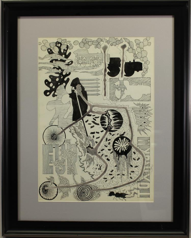 Framed 20th C. Abstract Pen/Ink Drawing