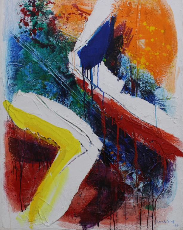 Large 1980's Abstract Painting on Canvas