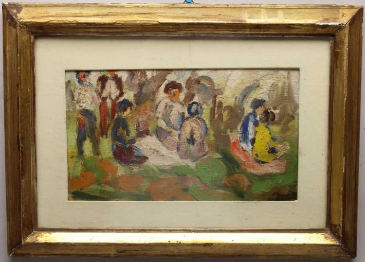 European School, Signed Painting of a Picnic
