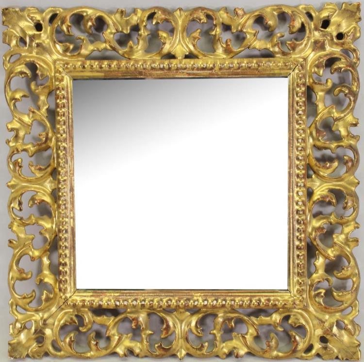 Vintage Carved Italian Gilt Mirror