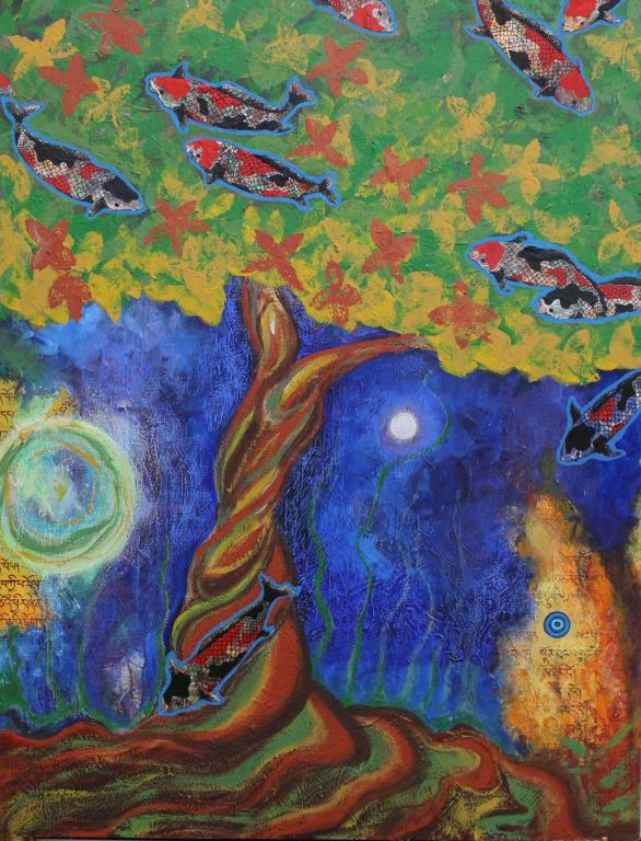 Large Modernist Painting of a Moonlit Tree w/ Fish