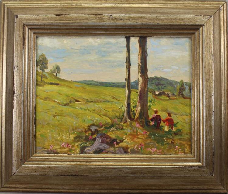 20th C. Oil on Board Landscape with Figures