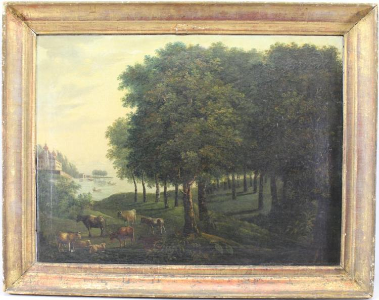17th C. Painting of Cattle in a Wooded Landscape
