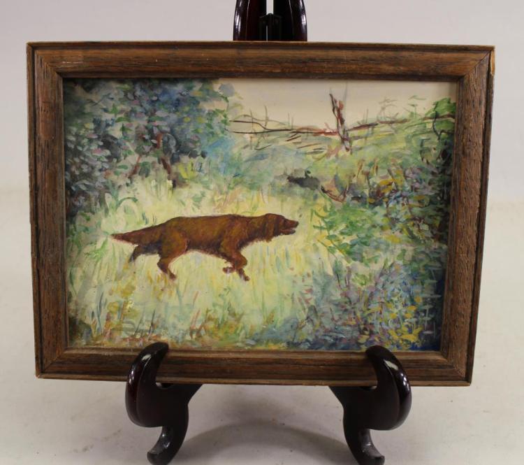 Signed Orlovsky?, Watercolor of a Dog in Landscape